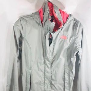 North Face Rain Coat Jacket Grey Pink XS